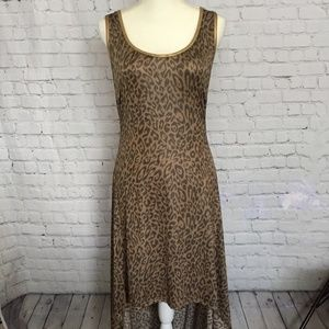 Maxi Dress High Low Bottom Leopard Print